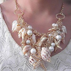 Jewelry - New Sea Shell Starfish Beach Statement Necklace